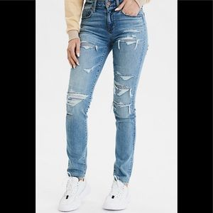 American Eagle High rise skinny distressed jeans